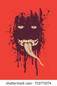 Devil. Design for poster or t-shirt print with eyes, teeth, snake tongue on a dark ink blots background. vector illustration.