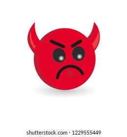 Devil emoticon isolated on white background. Emoji vector illustration