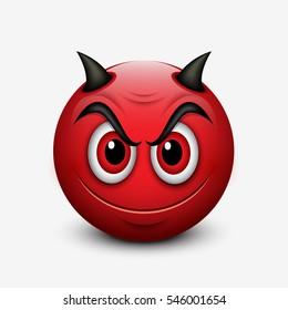 Devil emoticon isolated on white background - emoji - vector illustration