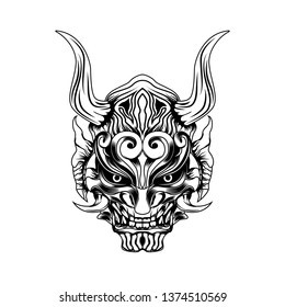 Devil Evil Ronin Samurai vector art - vector illustration of samurai vector illustration - Vector