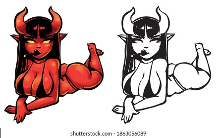 devil girl with a cigarette in a black bikini lying on her belly