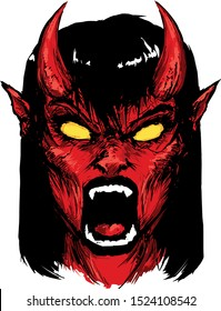 devil girl screaming angry red tantrum vector illustration succubus