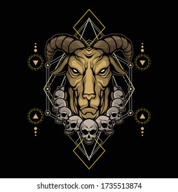 devil goat with sacred geometry
