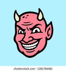 DEVIL HEAD COLOR BLUE BACKGROUND