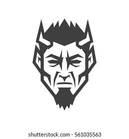 Devil head. Evil logo.