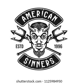 Devil head with two crossed tridents and text american sinners vector monochrome biker emblem or t shirt print isolated on white background