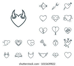 Devil Heart icon in set on the white background. Set of thin, linear and modern hearts icons. Universal linear icons to use in web and mobile app.