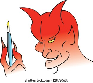 Devil holding a pen for someone getting ready to sell their soul.