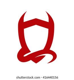Devil Horn and Shield Logo