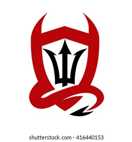 Devil Horn, Trident and Shield Logo