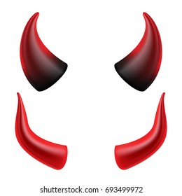 Devil Horn Vector. Realistic Red And Black Halloween Devil Horns Set. Satan Demon  Accessories Isolated On White Illustration.
