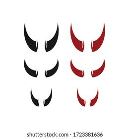 Devil Horns. Halloween Evil Horns Sign, Icon. Isolated On White Background