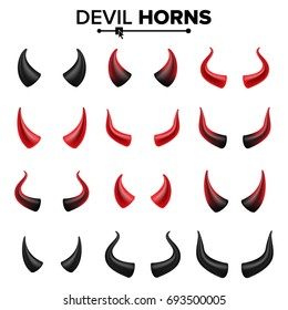 Devil Horns Set Vector. Good For Halloween Party. Red Devil Demon Satan Horn. Carnival Symbol Isolated Illustration.