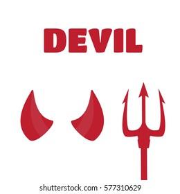 Devil horns and trident set vector illustration. Devil horns vector