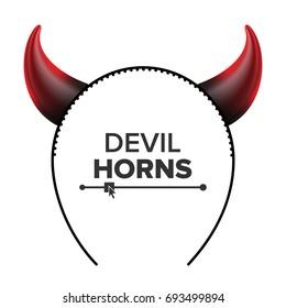 Devil Horns Vector. Head Gear. Red Luminous Horn. Demon Or Satan Horns Symbol, Sign, Icon. Isolated On White