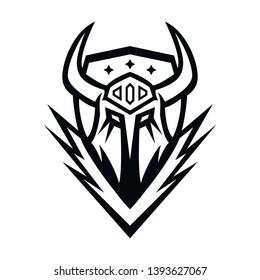 devil knight horn line art design illusration concept