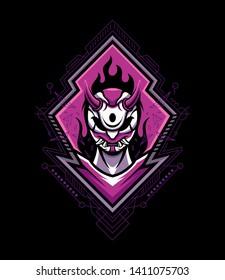 devil mascot wearing hannya mask in sci-fi style