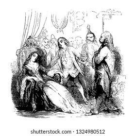The devil in mask had came to take a lady who had given himself to him and all eyes are paused on mistress of house, vintage engraved line art illustration. Infernal Dictionary 1863.