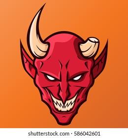 Devil with one horn mascot sport team logo