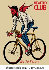 devil riding bicycle / satan bicycle / go to health vector illustration