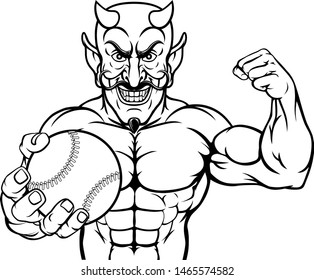 A devil Satan baseball or softball sports mascot cartoon character man holding a ball