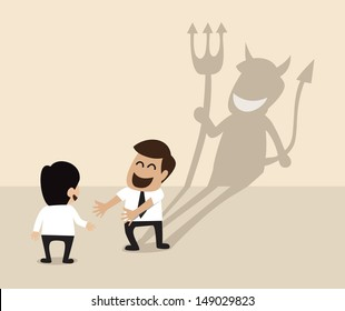 Devil shadow behind a smiling face of two businessmen