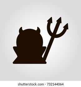 Devil silhouette isolated flat vector icon