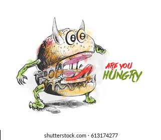 Devil style Burger, Hand Drawn Sketch Vector illustration.
