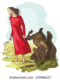 The devil tempted Jesus in the desert. Vector cartoon Christian illustration. Also available raster and coloring book version