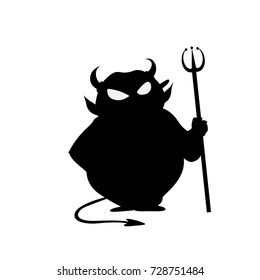 Devil with trident fir halloween vector icon illustration isolated on white background.