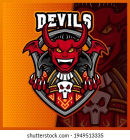 Devil Vampire Horn mascot esport logo design illustrations vector template, Evil logo for team game streamer social media banner