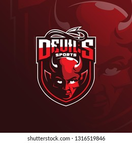 devil vector mascot logo design with modern illustration concept style for badge, emblem and tshirt printing. devil illustration for sport and esport team.