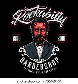 Devil Vintage Barbershop Logo Template Vector