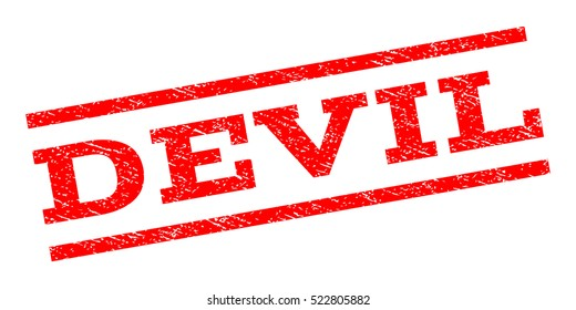 Devil watermark stamp. Text tag between parallel lines with grunge design style. Rubber seal stamp with scratched texture. Vector red color ink imprint on a white background.