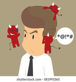 The devil whisper a businessman, framed, gossip. vector