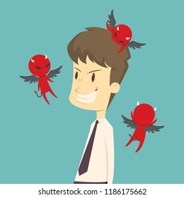 The devil whisper a businessman, framed, gossip.cartoon of business,employee success is the concept of the man characters business, the mood of people, can be used as a background, illustration vector