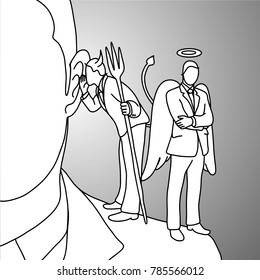 Devil whispering at the ear on businessman shoulder vector illustration doodle sketch hand drawn with black lines isolated on gray background. Business decision concept.