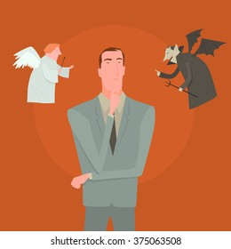 Devil and white angel pointing to different direction leaving cartoon man confused. Creative vector illustration for difficult decision concept isolated on orange background.
