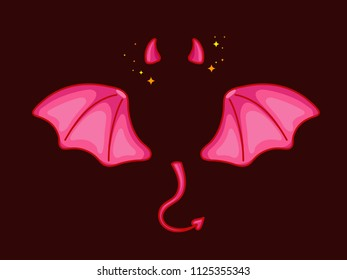 Devil wings with horns and tail. Cute cartoon style with volume. Little demon photo booth prop. Deep red and pink palette. Vector illustration isolated on dark background.