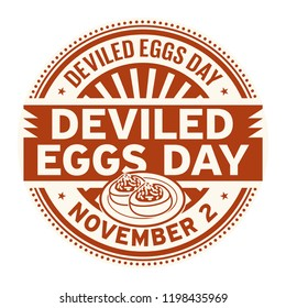 Deviled Eggs Day, November 2, rubber stamp, vector Illustration