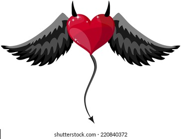 Devilish Red Heart With Black Horns, Wings And Tail At Halloween, Vector Illustration