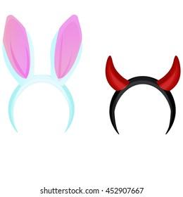 Devil's horns head gear.. Hare's ears carnival