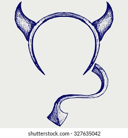 Devil's horns and tail. Doodle style