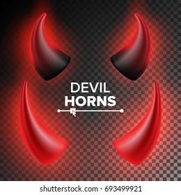 Devils Horns Vector. Red Luminous Horn. Isolated On White Background Illustration. Halloween Evil Horns. Transparent