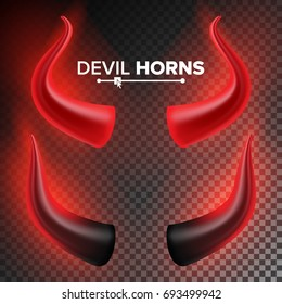 Devils Horns Vector. Red Luminous Horn. Realistic Red And Black Devil Horns Set. Isolated On Transparent Illustration.