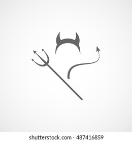 Devils Trident Horn And Tail Halloween Concept Flat Icon On White Background