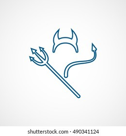 Devils Trident Horn And Tail Halloween Concept Blue Line Icon On White Background