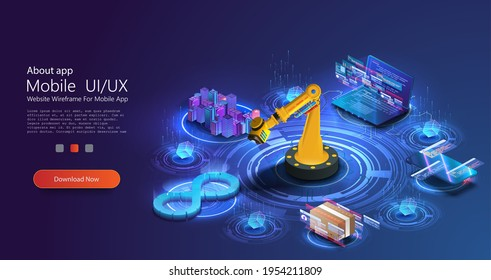Devops banner. Development operations, continuous process software production and administration. Hologram of lifecycle infinity symbol and robot manipulators. 3d design programming or creating city