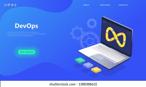 DevOps business landing page. Programmer, user administrator, professional engine concept. Flat isometric cartoon vector illustration. Laptop in programming development and operations concept