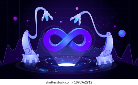 DevOps concept. Development operations, continuous process of software production and administration. Vector cartoon illustration with hologram of lifecycle infinity symbol and robot manipulators
